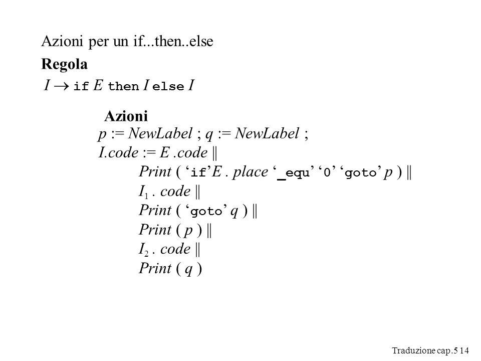 Traduzione cap.5 14 Azioni per un if...then..else I if E then I else I Regola Azioni p := NewLabel ; q := NewLabel ; I.code := E.code || Print ( ifE.