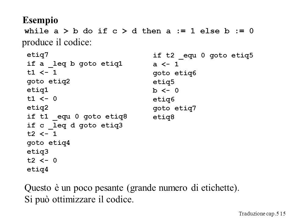 Traduzione cap.5 15 Esempio while a > b do if c > d then a := 1 else b := 0 produce il codice: etiq7 if a _leq b goto etiq1 t1 <- 1 goto etiq2 etiq1 t1 <- 0 etiq2 if t1 _equ 0 goto etiq8 if c _leq d goto etiq3 t2 <- 1 goto etiq4 etiq3 t2 <- 0 etiq4 if t2 _equ 0 goto etiq5 a <- 1 goto etiq6 etiq5 b <- 0 etiq6 goto etiq7 etiq8 Questo è un poco pesante (grande numero di etichette).