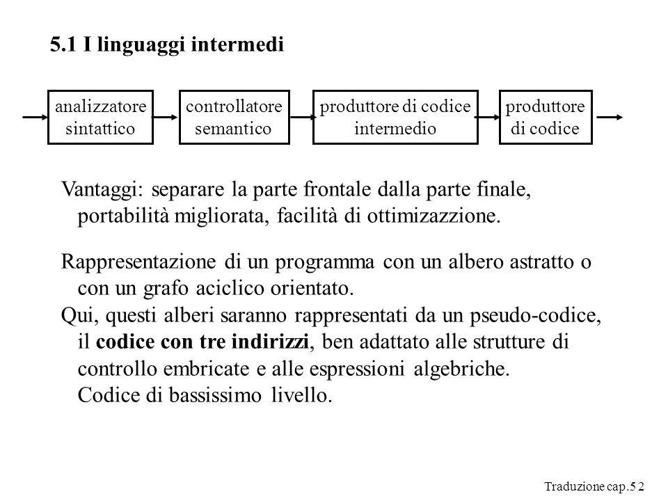 Traduzione cap.5 2 5.1 I linguaggi intermedi analizzatore sintattico controllatore semantico produttore di codice intermedio produttore di codice Vantaggi: separare la parte frontale dalla parte finale, portabilità migliorata, facilità di ottimizazzione.