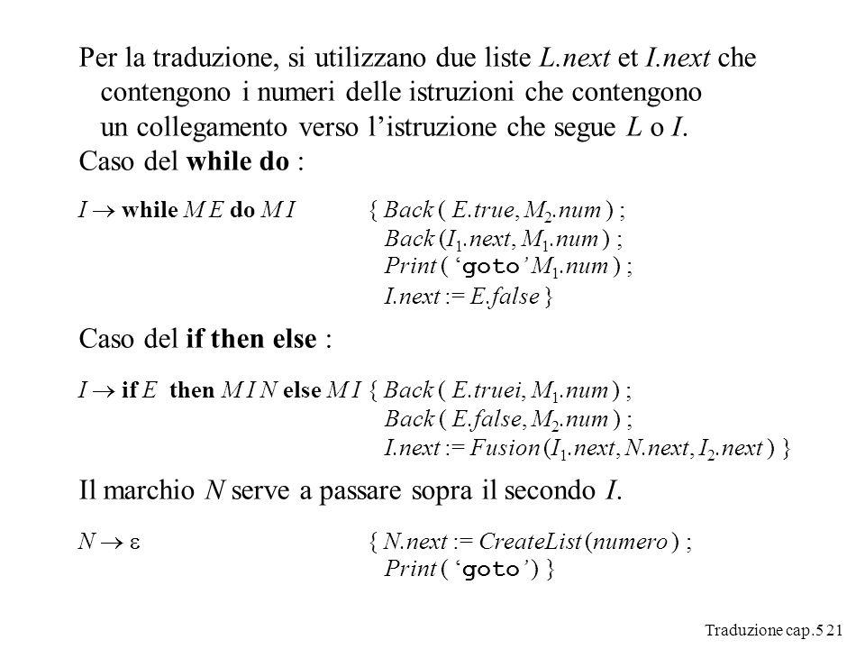 Traduzione cap.5 21 Per la traduzione, si utilizzano due liste L.next et I.next che contengono i numeri delle istruzioni che contengono un collegamento verso listruzione che segue L o I.