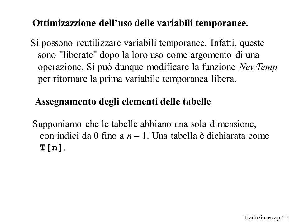 Traduzione cap.5 7 Ottimizazzione delluso delle variabili temporanee.