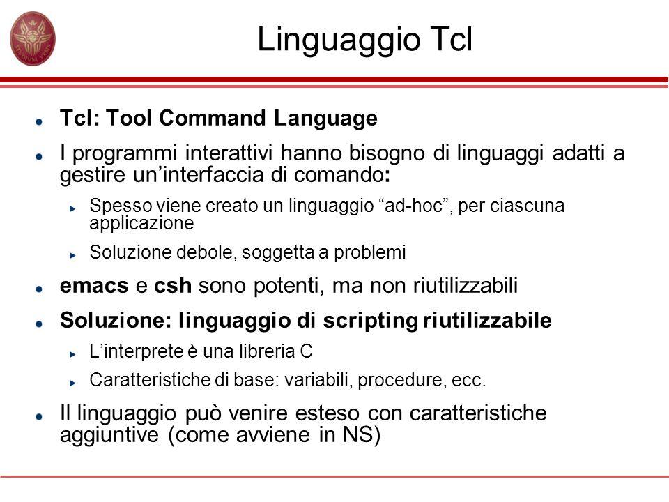 Linguaggio Tcl Tcl: Tool Command Language I programmi interattivi hanno bisogno di linguaggi adatti a gestire uninterfaccia di comando: Spesso viene c