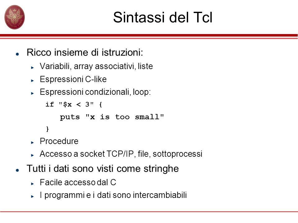 Sintassi del Tcl Ricco insieme di istruzioni: Variabili, array associativi, liste Espressioni C-like Espressioni condizionali, loop: if