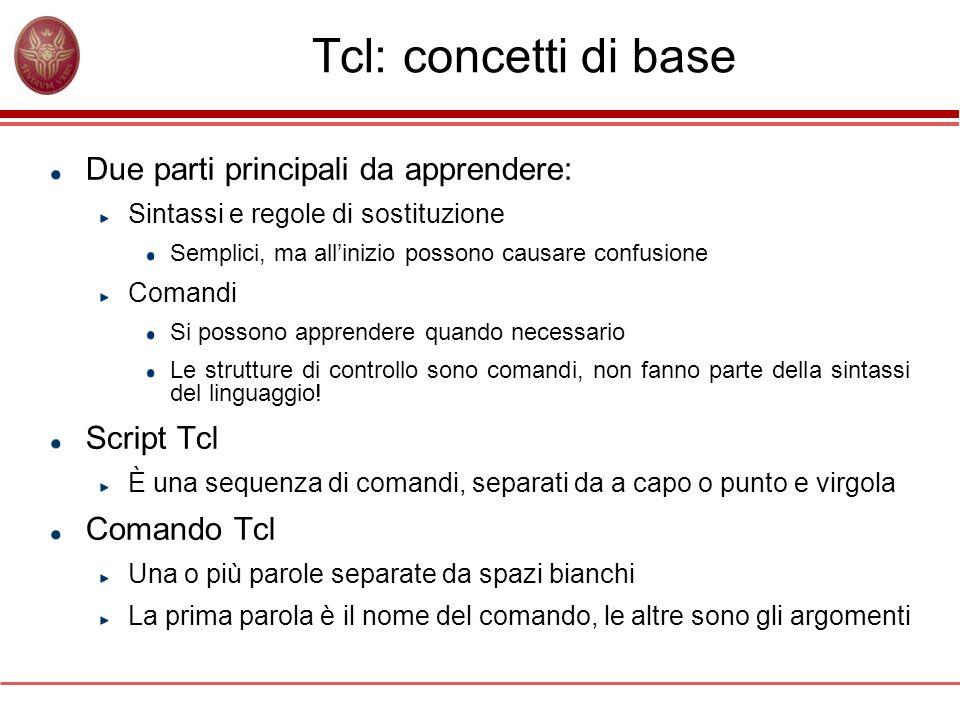Tcl: concetti di base Due parti principali da apprendere: Sintassi e regole di sostituzione Semplici, ma allinizio possono causare confusione Comandi