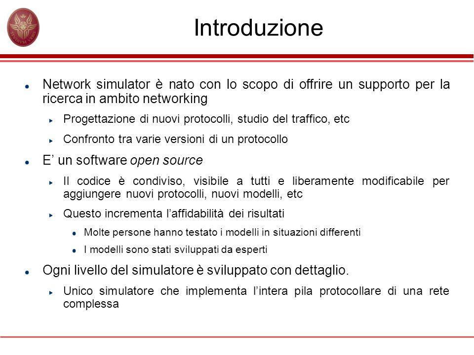 Introduzione Network simulator è nato con lo scopo di offrire un supporto per la ricerca in ambito networking Progettazione di nuovi protocolli, studi