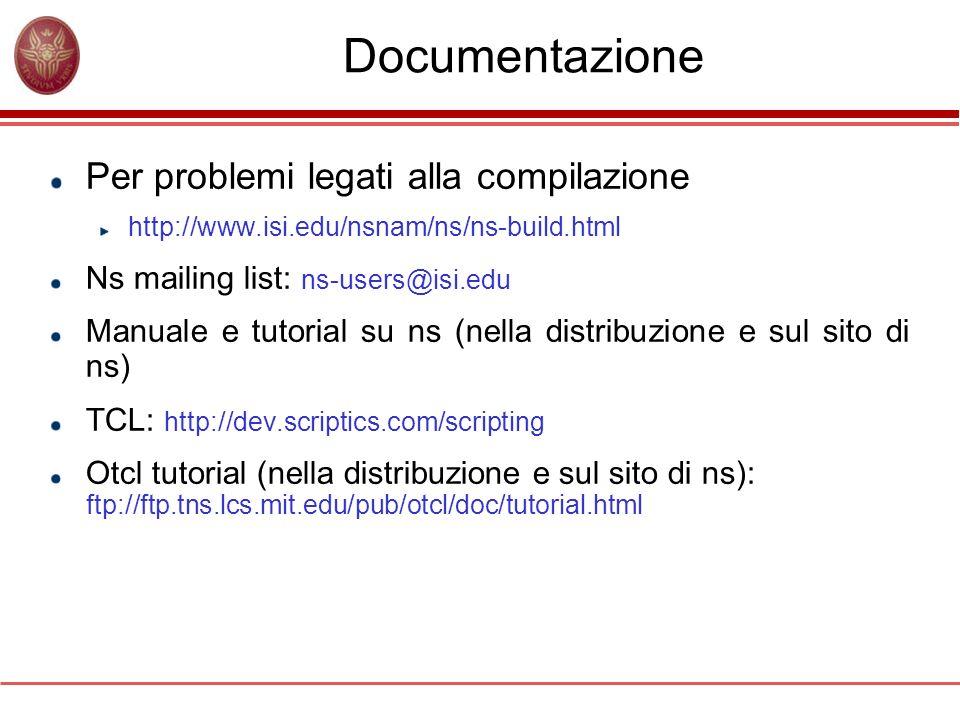 Documentazione Per problemi legati alla compilazione http://www.isi.edu/nsnam/ns/ns-build.html Ns mailing list: ns-users@isi.edu Manuale e tutorial su