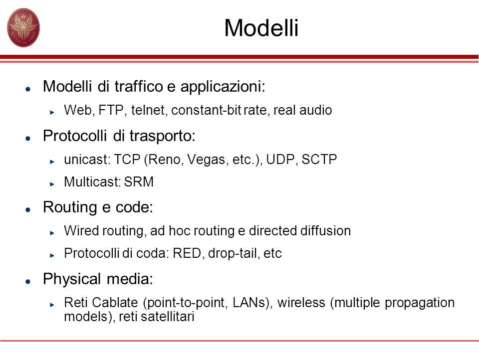 Generazione del traffico … set udp0 [new Agent/UDP] $ns attach-agent $n0 $udp0 set cbr0 [new Application/Traffic/CBR] $cbr0 set packetSize_ 500 $cbr0 set interval_ 0.005 $cbr0 attach-agent $udp0 set null0 [new Agent/Null] $ns attach-agent $n1 $null0 $ns connect $udp0 $null0 $ns at 0.5 $cbr0 start $ns at 4.5 $cbr0 stop … Crea un agent UDP e assegna lhandle udp0 Collega lagent udp0 al nodo n0 Crea un generatore costant bit rate cbr0 Dimensione del pacchetto 500 byte Intervallo di generazione 0.005 s Collega il generatore cbr0 a udp0 Crea un agent null e assegna lhandle null0 Collega lagent null0 al nodo n1 Connette udp0 a null0 Allistante t=0.5s avvio generatore CBR cbr0 Allistante t=4.5s fine generazione dei pacchetti