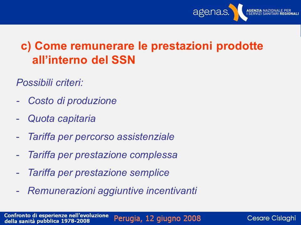 c) Come remunerare le prestazioni prodotte allinterno del SSN Possibili criteri: - Costo di produzione -Quota capitaria -Tariffa per percorso assisten