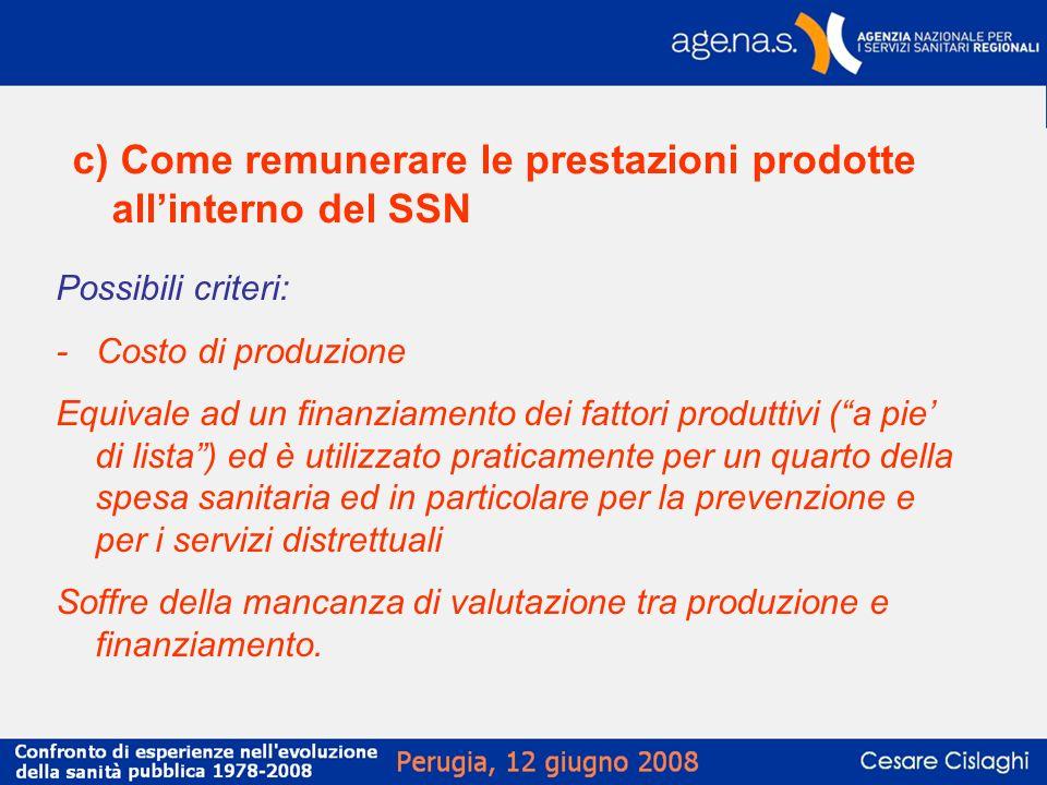 c) Come remunerare le prestazioni prodotte allinterno del SSN Possibili criteri: - Costo di produzione Equivale ad un finanziamento dei fattori produt
