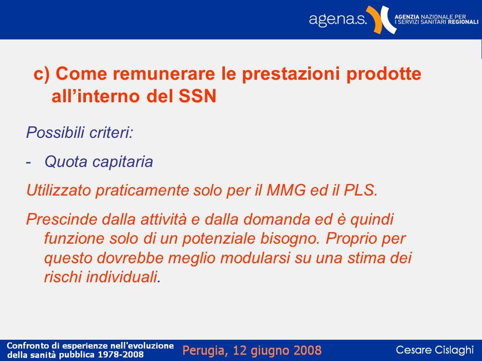 c) Come remunerare le prestazioni prodotte allinterno del SSN Possibili criteri: -Quota capitaria Utilizzato praticamente solo per il MMG ed il PLS. P
