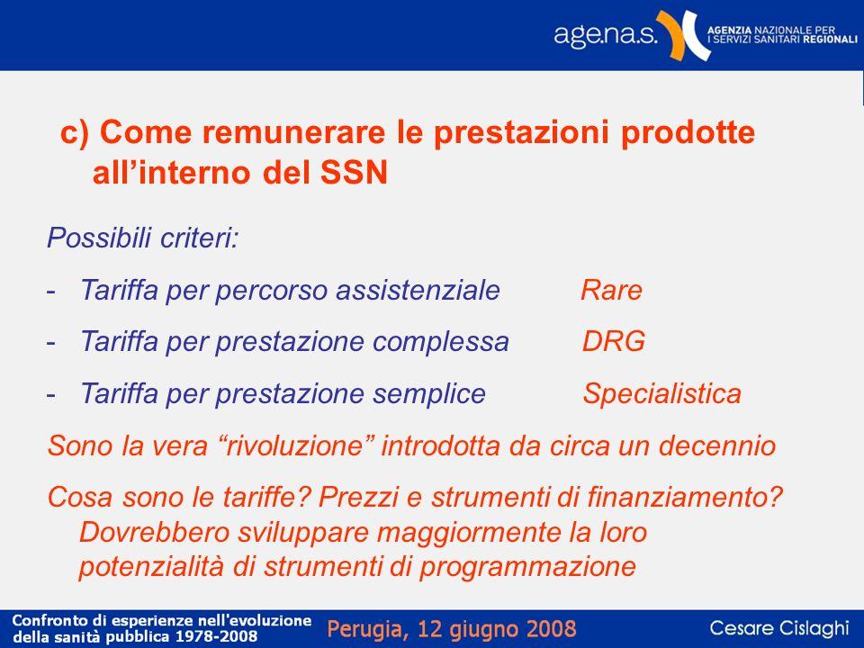 c) Come remunerare le prestazioni prodotte allinterno del SSN Possibili criteri: -Tariffa per percorso assistenziale Rare -Tariffa per prestazione com