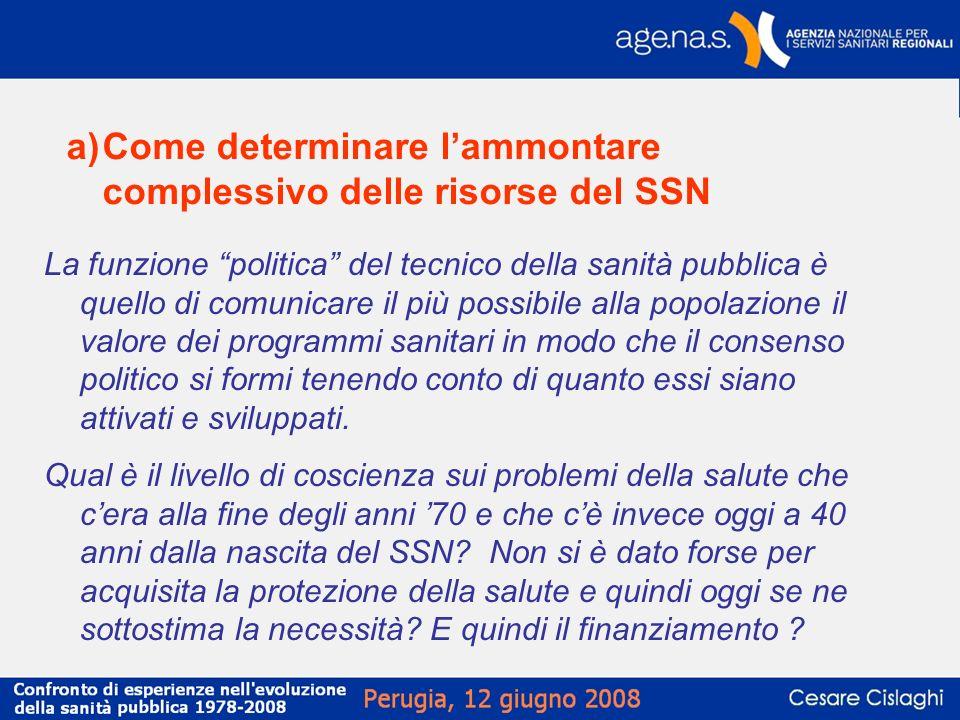 a)Come determinare lammontare complessivo delle risorse del SSN La funzione politica del tecnico della sanità pubblica è quello di comunicare il più p