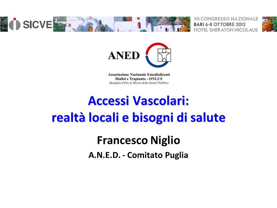 Accessi Vascolari: realtà locali e bisogni di salute Francesco Niglio A.N.E.D. - Comitato Puglia