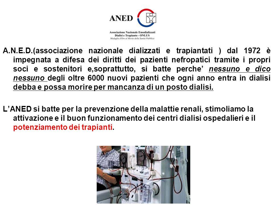 A.N.E.D.(associazione nazionale dializzati e trapiantati ) dal 1972 è impegnata a difesa dei diritti dei pazienti nefropatici tramite i propri soci e