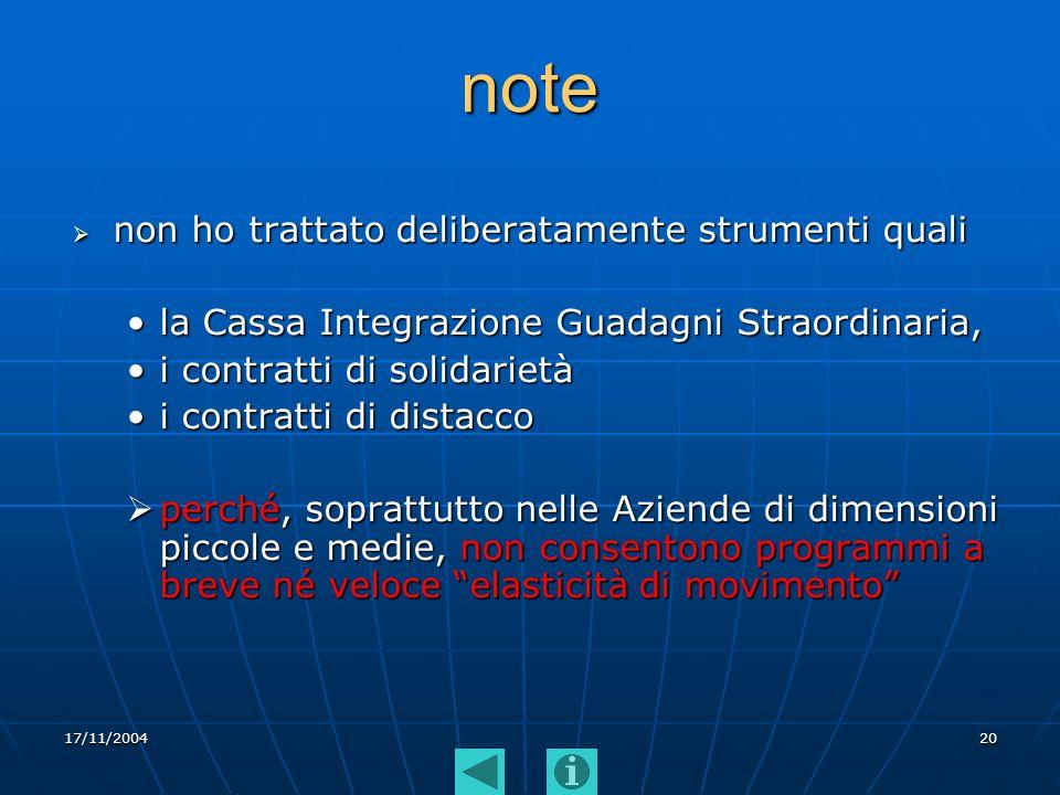 17/11/200420 note non ho trattato deliberatamente strumenti quali non ho trattato deliberatamente strumenti quali la Cassa Integrazione Guadagni Strao