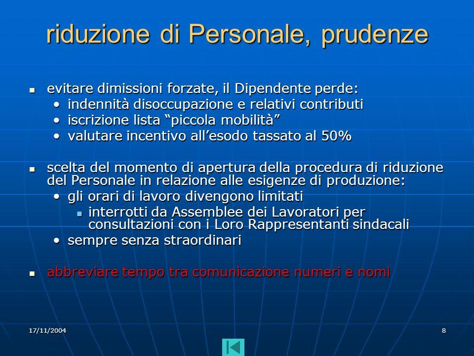 17/11/20048 riduzione di Personale, prudenze evitare dimissioni forzate, il Dipendente perde: evitare dimissioni forzate, il Dipendente perde: indenni