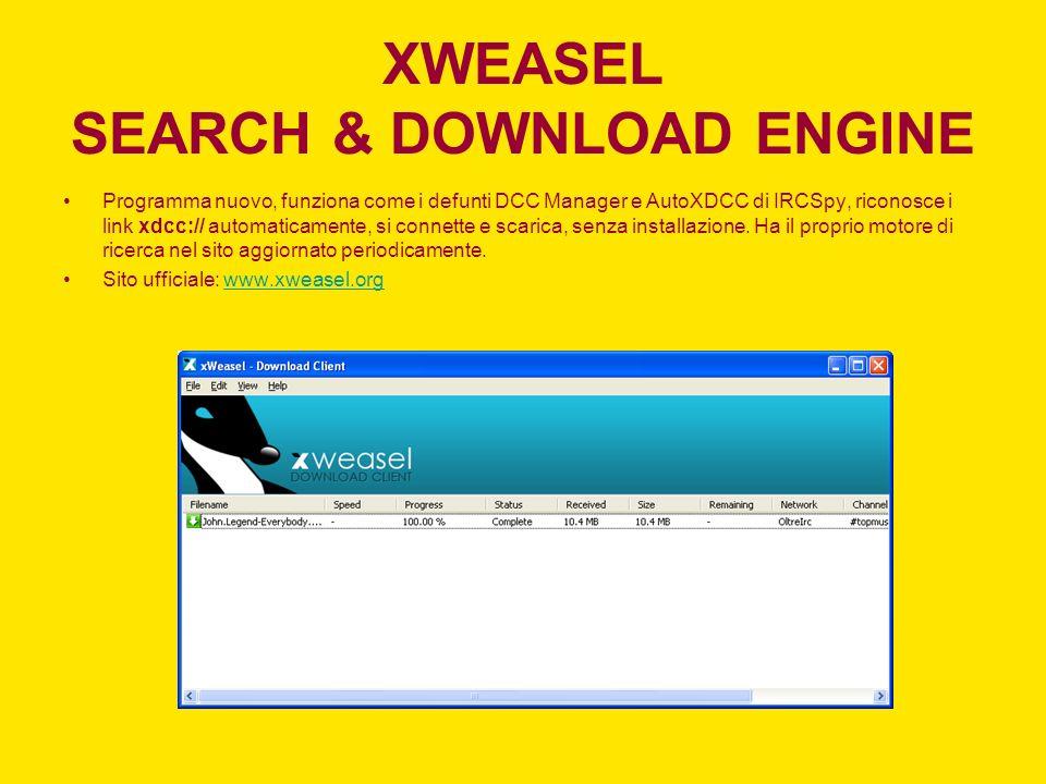 XWEASEL SEARCH & DOWNLOAD ENGINE Programma nuovo, funziona come i defunti DCC Manager e AutoXDCC di IRCSpy, riconosce i link xdcc:// automaticamente,