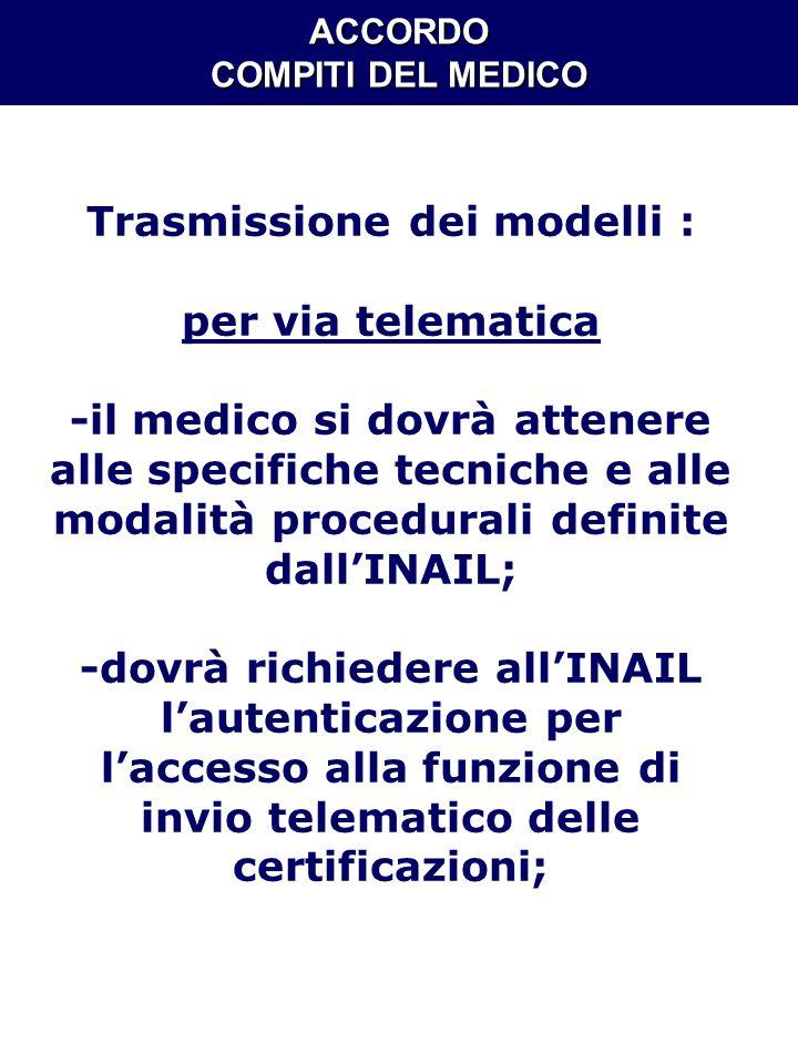 ACCORDO COMPITI DEL MEDICO Trasmissione dei modelli : per via telematica -il medico si dovrà attenere alle specifiche tecniche e alle modalità procedu