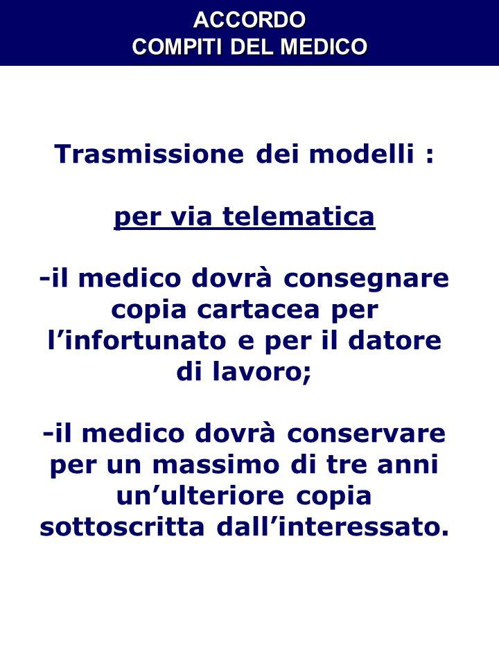 ACCORDO COMPITI DEL MEDICO Trasmissione dei modelli : per via telematica -il medico dovrà consegnare copia cartacea per linfortunato e per il datore d
