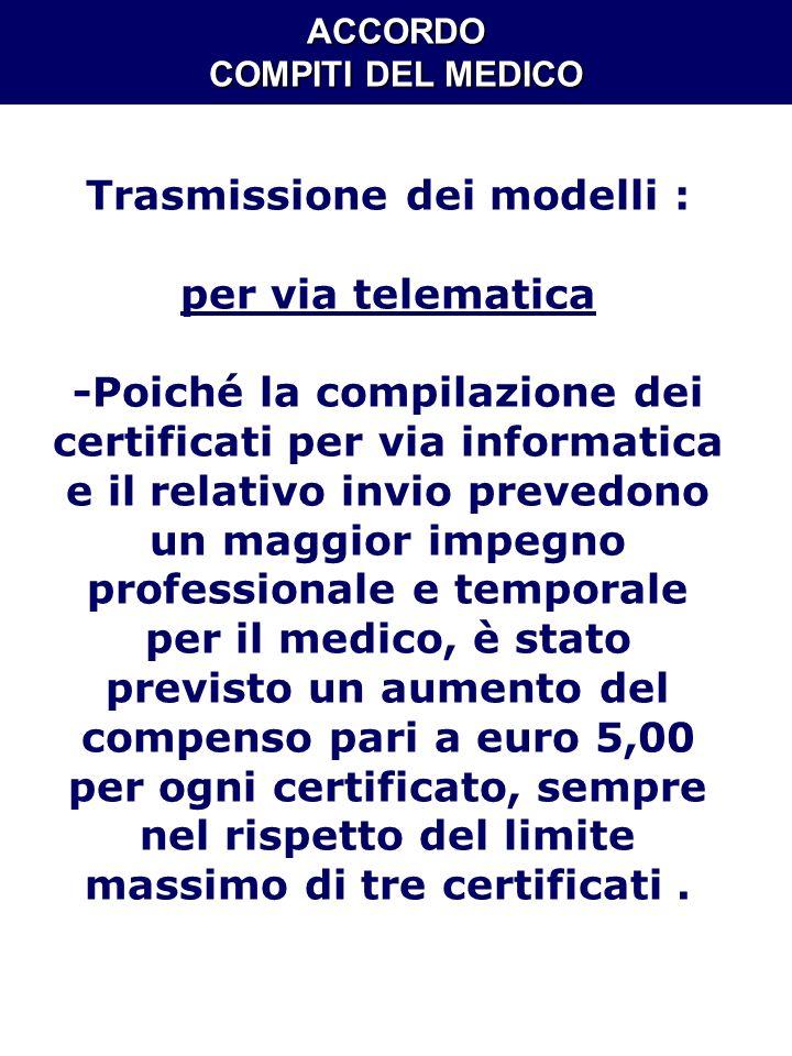 ACCORDO COMPITI DEL MEDICO Trasmissione dei modelli : per via telematica -Poiché la compilazione dei certificati per via informatica e il relativo inv