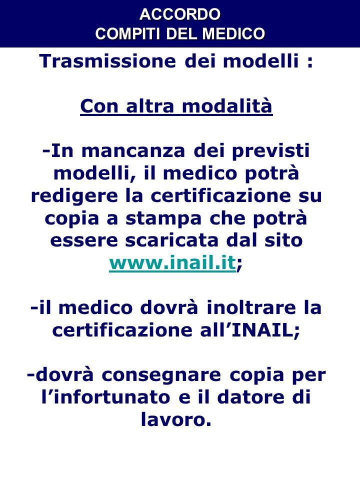 ACCORDO COMPITI DEL MEDICO Trasmissione dei modelli : Con altra modalità -In mancanza dei previsti modelli, il medico potrà redigere la certificazione