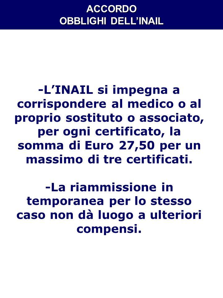 ACCORDO OBBLIGHI DELLINAIL -LINAIL si impegna a corrispondere al medico o al proprio sostituto o associato, per ogni certificato, la somma di Euro 27,