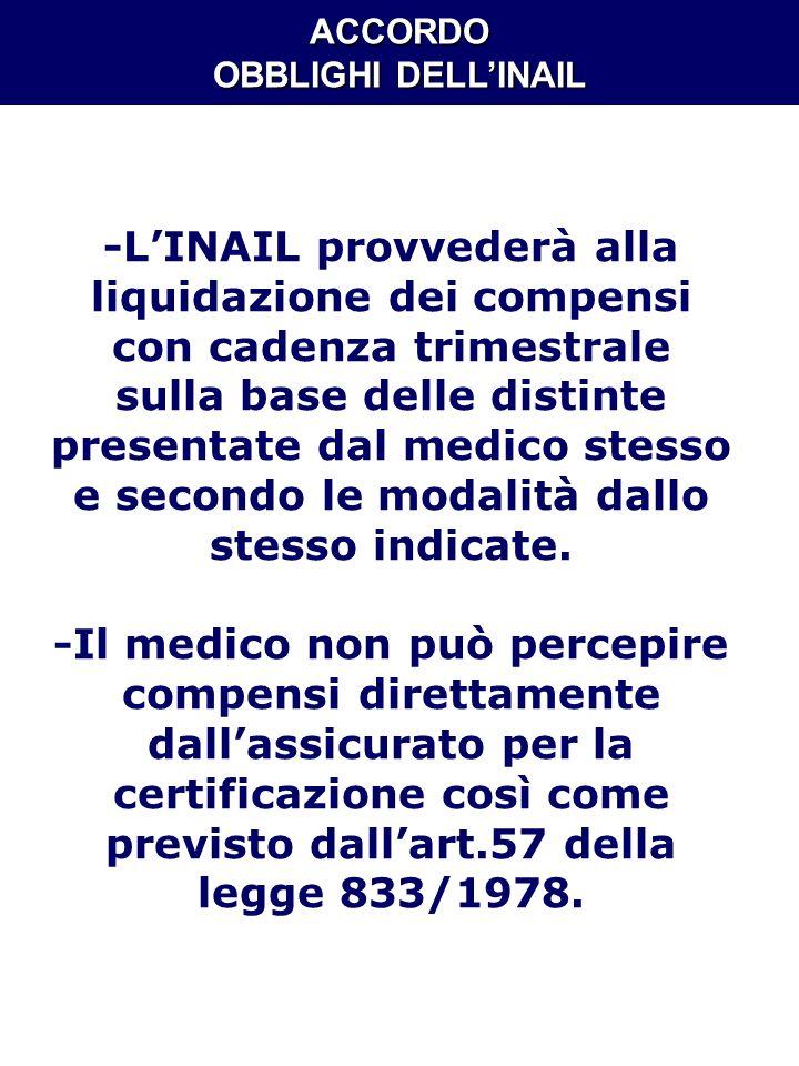 ACCORDO OBBLIGHI DELLINAIL -LINAIL provvederà alla liquidazione dei compensi con cadenza trimestrale sulla base delle distinte presentate dal medico s