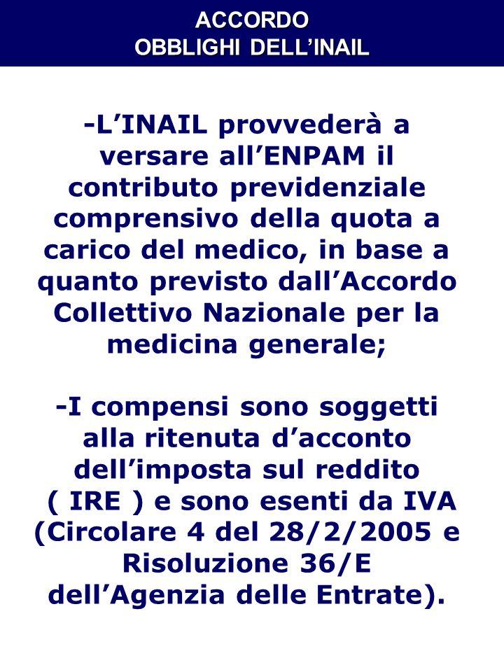 ACCORDO OBBLIGHI DELLINAIL -LINAIL provvederà a versare allENPAM il contributo previdenziale comprensivo della quota a carico del medico, in base a qu
