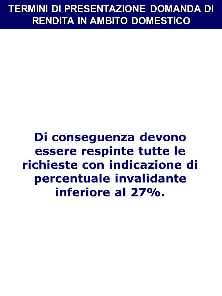 TERMINI DI PRESENTAZIONE DOMANDA DI RENDITA IN AMBITO DOMESTICO Di conseguenza devono essere respinte tutte le richieste con indicazione di percentual