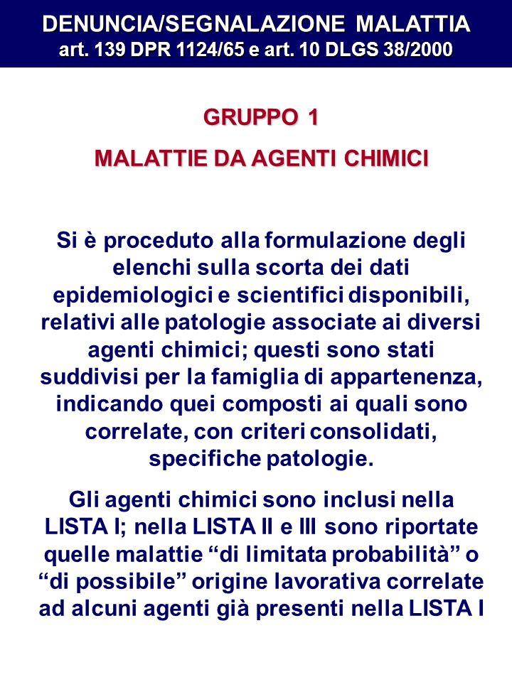 DENUNCIA/SEGNALAZIONE MALATTIA art. 139 DPR 1124/65 e art. 10 DLGS 38/2000 GRUPPO 1 MALATTIE DA AGENTI CHIMICI Si è proceduto alla formulazione degli