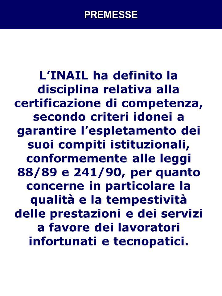 PREMESSE LINAIL ha definito la disciplina relativa alla certificazione di competenza, secondo criteri idonei a garantire lespletamento dei suoi compit