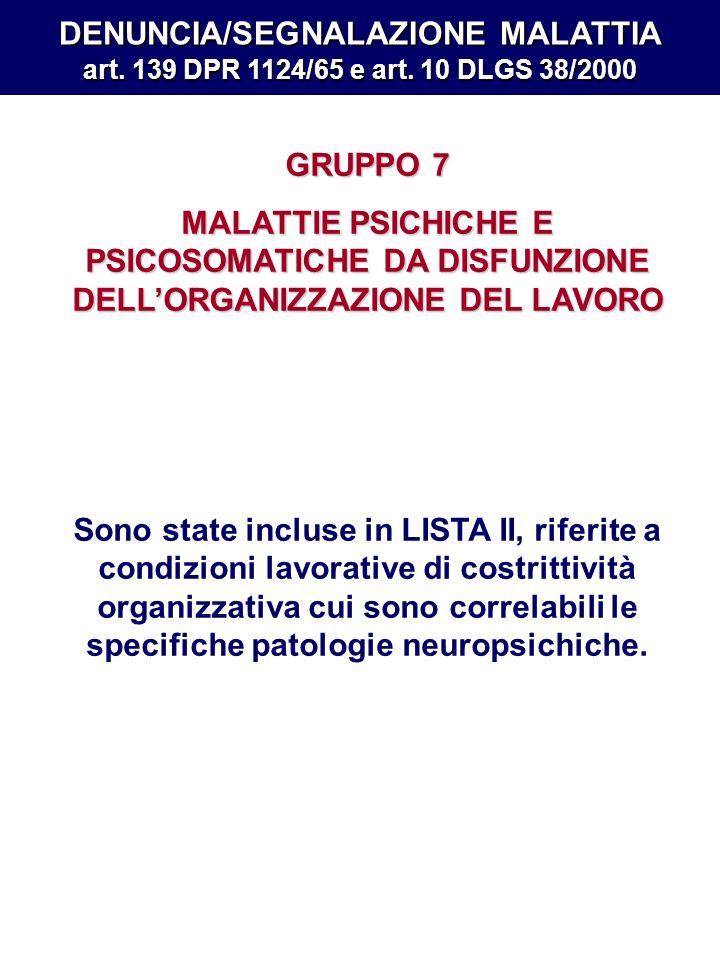 DENUNCIA/SEGNALAZIONE MALATTIA art. 139 DPR 1124/65 e art. 10 DLGS 38/2000 GRUPPO 7 MALATTIE PSICHICHE E PSICOSOMATICHE DA DISFUNZIONE DELLORGANIZZAZI