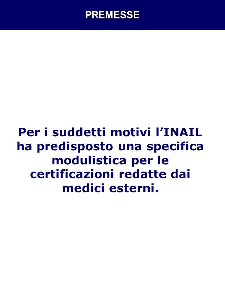 PREMESSE Per i suddetti motivi lINAIL ha predisposto una specifica modulistica per le certificazioni redatte dai medici esterni.