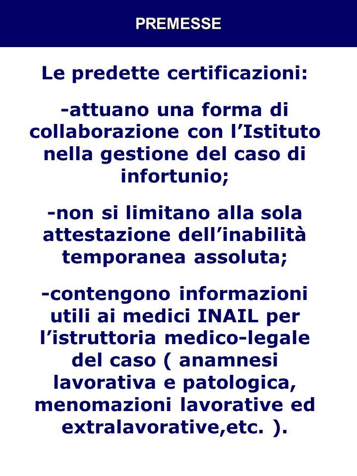 PREMESSE Le predette certificazioni: -attuano una forma di collaborazione con lIstituto nella gestione del caso di infortunio; -non si limitano alla s
