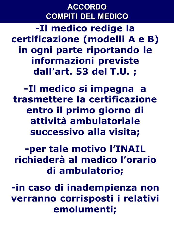 ACCORDO COMPITI DEL MEDICO -Il medico redige la certificazione (modelli A e B) in ogni parte riportando le informazioni previste dallart. 53 del T.U.