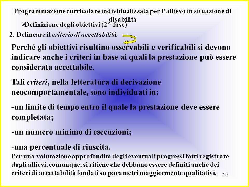 10 Programmazione curricolare individualizzata per lallievo in situazione di disabilità Definizione degli obiettivi (2^ fase) 2. Delineare il criterio