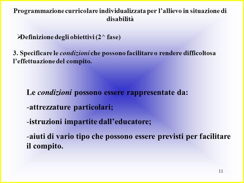 11 Programmazione curricolare individualizzata per lallievo in situazione di disabilità Definizione degli obiettivi (2^ fase) 3. Specificare le condiz