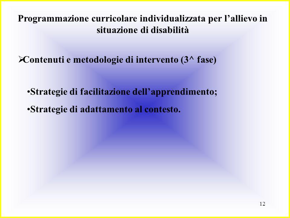 13 Programmazione curricolare individualizzata per lallievo in situazione di disabilità Contenuti e metodologie di intervento (3^ fase) Strategie di facilitazione dellapprendimento Si riferiscono soprattutto allapproccio comportamentale.