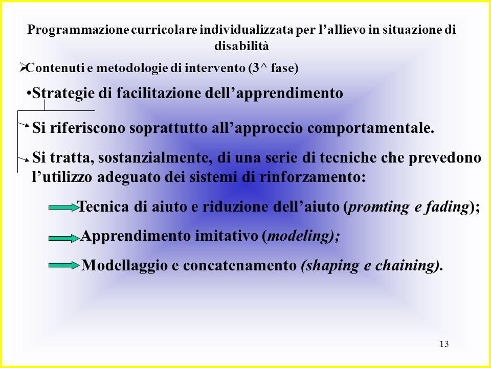 13 Programmazione curricolare individualizzata per lallievo in situazione di disabilità Contenuti e metodologie di intervento (3^ fase) Strategie di f