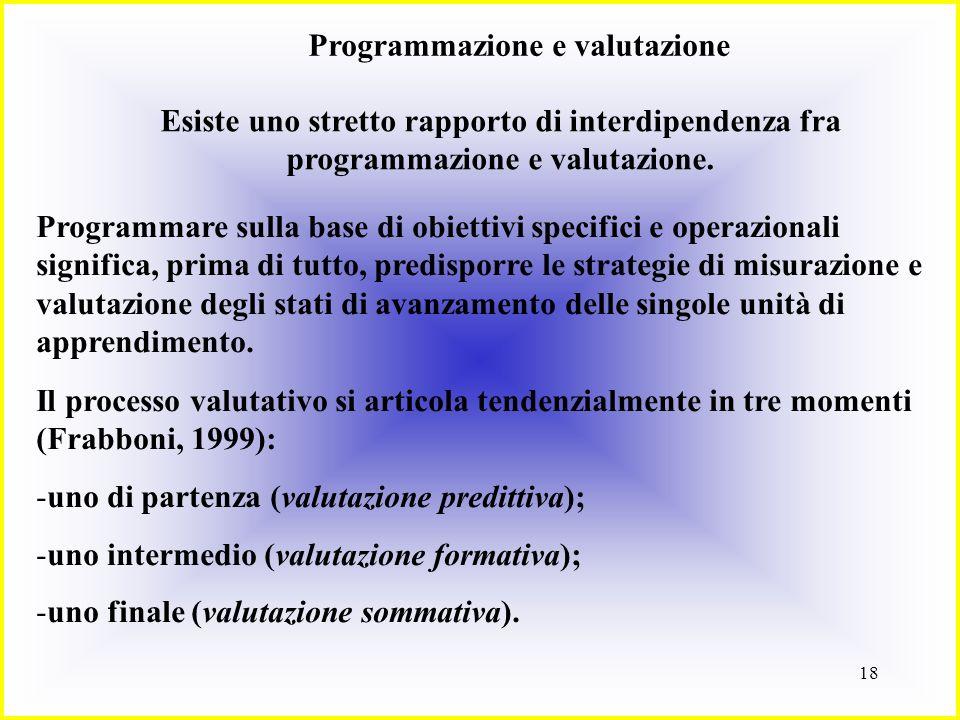 18 Programmazione e valutazione Esiste uno stretto rapporto di interdipendenza fra programmazione e valutazione. Programmare sulla base di obiettivi s
