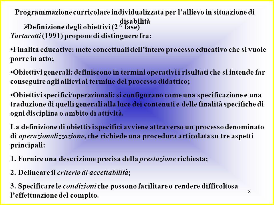 8 Programmazione curricolare individualizzata per lallievo in situazione di disabilità Definizione degli obiettivi (2^ fase) Tartarotti (1991) propone