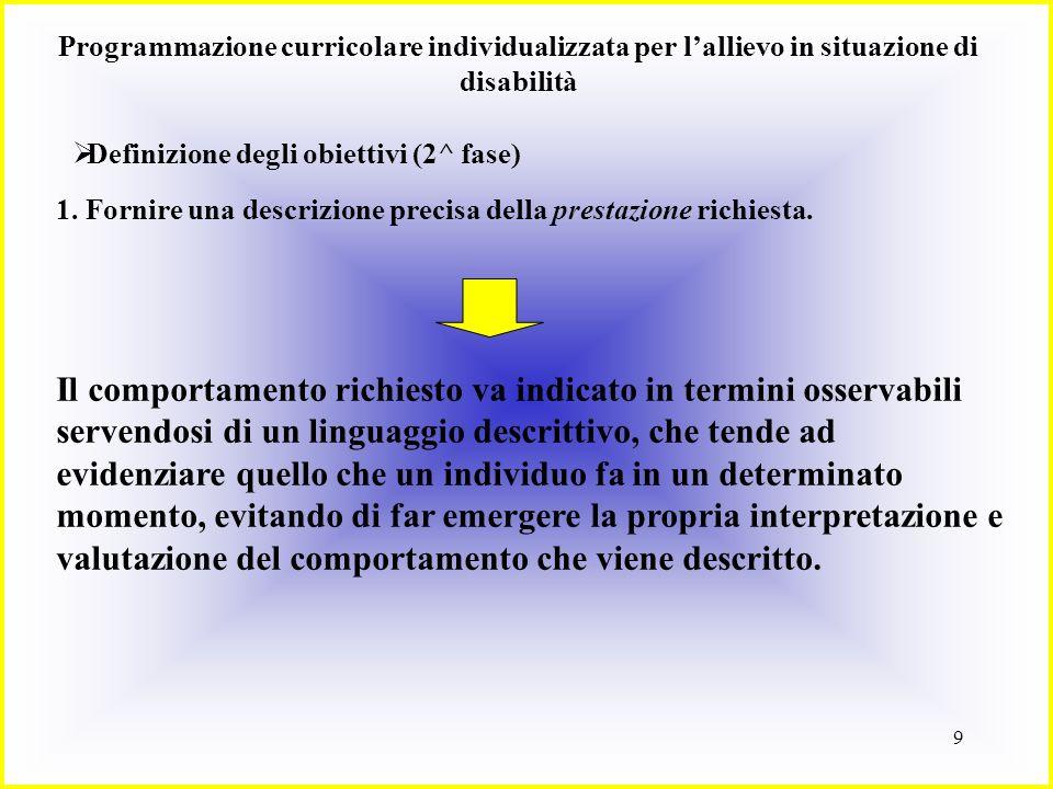 9 Programmazione curricolare individualizzata per lallievo in situazione di disabilità Definizione degli obiettivi (2^ fase) 1. Fornire una descrizion