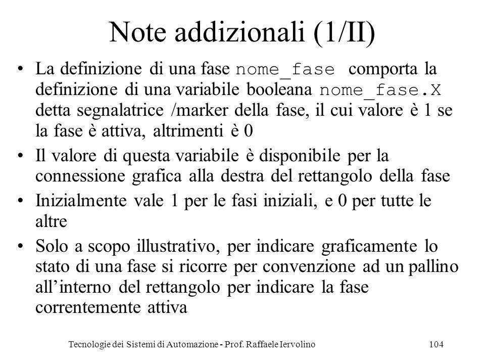 Tecnologie dei Sistemi di Automazione - Prof. Raffaele Iervolino104 Note addizionali (1/II) La definizione di una fase nome_fase comporta la definizio