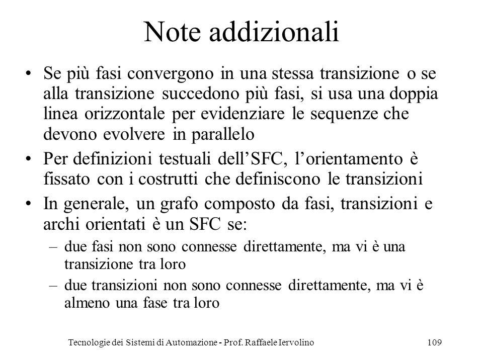 Tecnologie dei Sistemi di Automazione - Prof. Raffaele Iervolino109 Note addizionali Se più fasi convergono in una stessa transizione o se alla transi