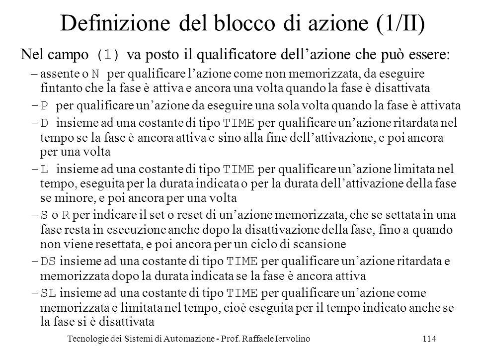 Tecnologie dei Sistemi di Automazione - Prof. Raffaele Iervolino114 Definizione del blocco di azione (1/II) Nel campo (1) va posto il qualificatore de