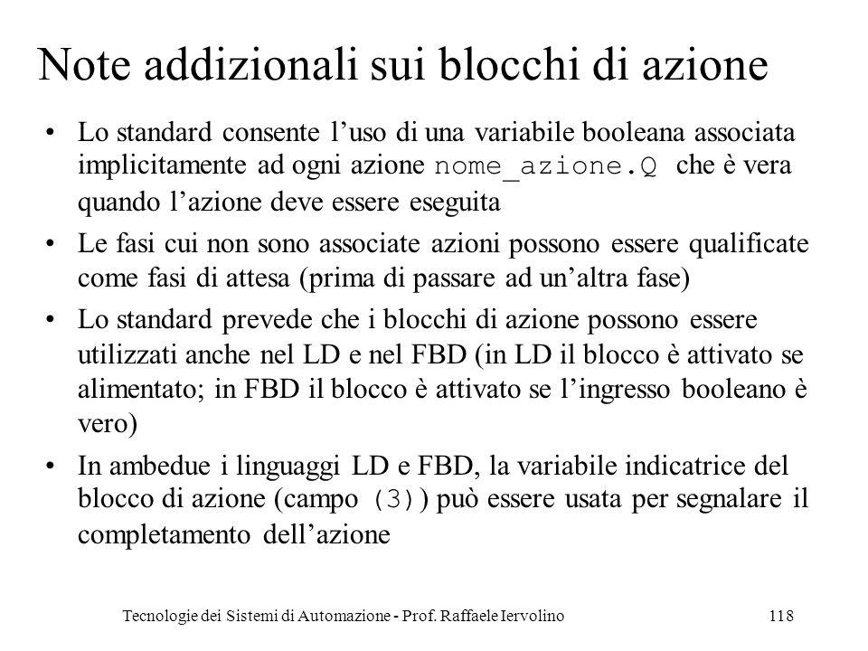 Tecnologie dei Sistemi di Automazione - Prof. Raffaele Iervolino118 Note addizionali sui blocchi di azione Lo standard consente luso di una variabile