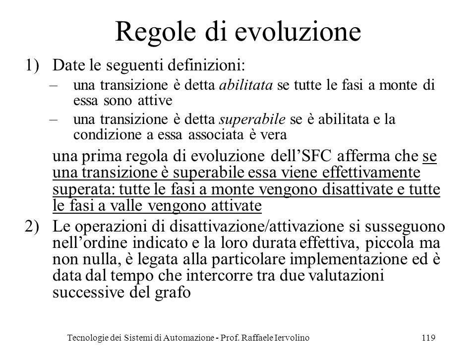 Tecnologie dei Sistemi di Automazione - Prof. Raffaele Iervolino119 Regole di evoluzione 1)Date le seguenti definizioni: –una transizione è detta abil