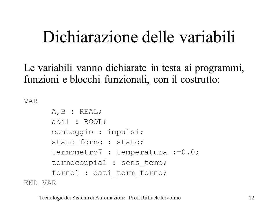 Tecnologie dei Sistemi di Automazione - Prof. Raffaele Iervolino12 Dichiarazione delle variabili Le variabili vanno dichiarate in testa ai programmi,