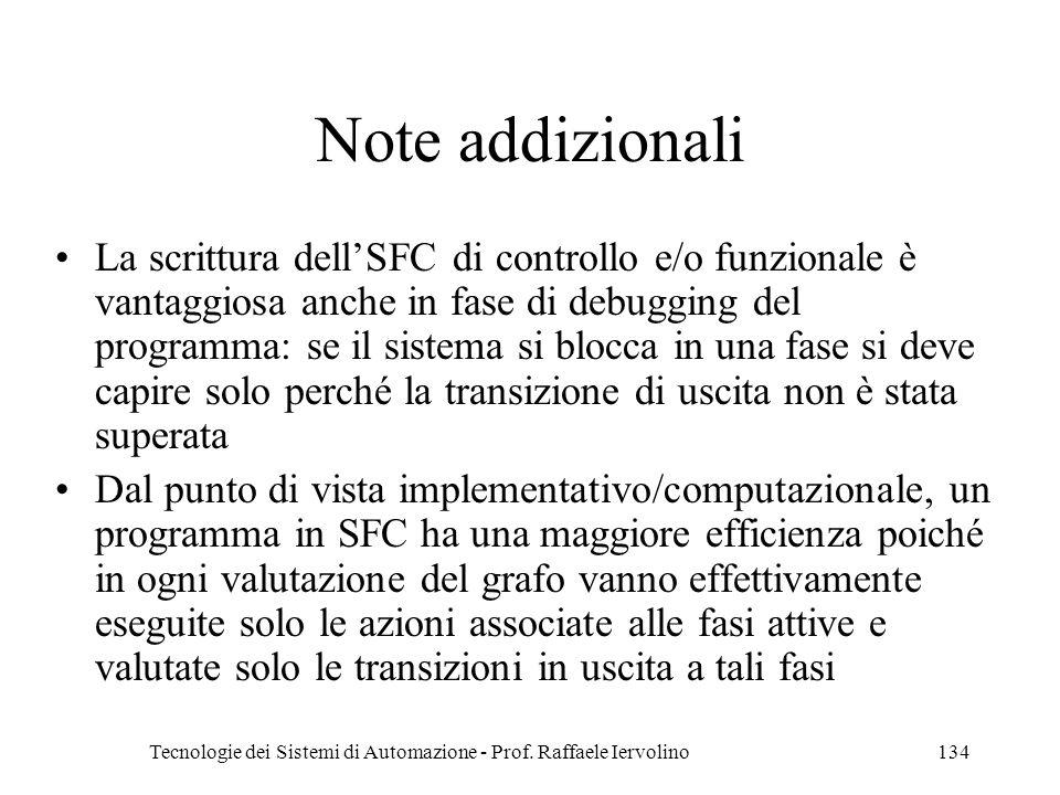 Tecnologie dei Sistemi di Automazione - Prof. Raffaele Iervolino134 Note addizionali La scrittura dellSFC di controllo e/o funzionale è vantaggiosa an