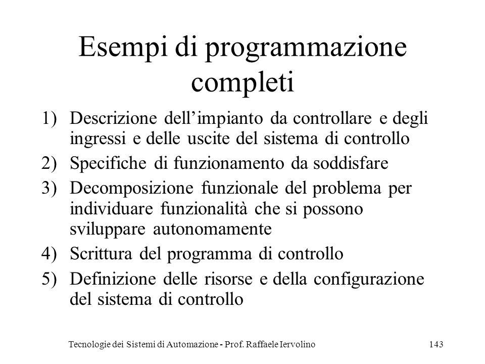 Tecnologie dei Sistemi di Automazione - Prof. Raffaele Iervolino143 Esempi di programmazione completi 1)Descrizione dellimpianto da controllare e degl